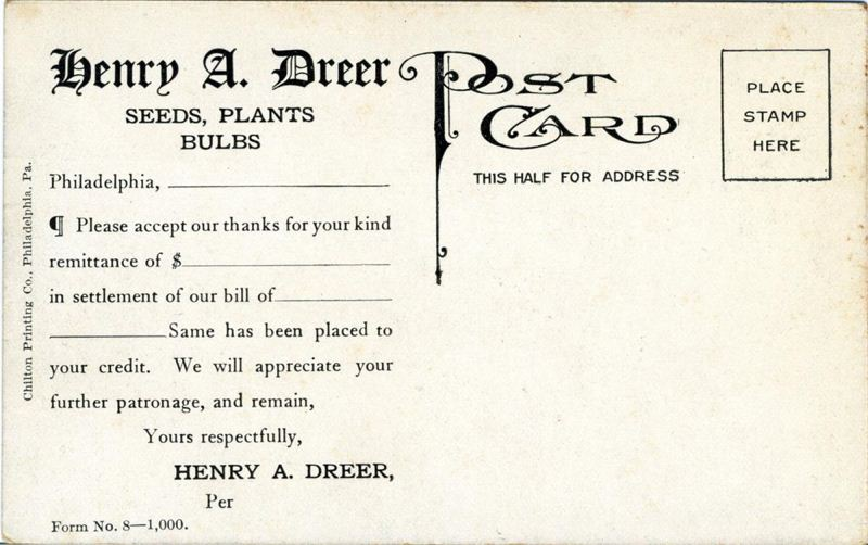 Dreers Nursery Historical Society of Riverton NJ – Payment Received Form