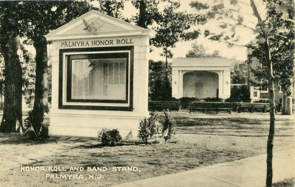 Honor Roll and Band Stand, Palmyra, NJ undated postcard