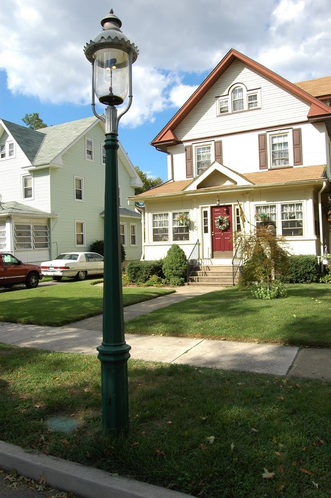 A Handsome Example Of An Original Gaslamp Post Refinished By Homeowner, Mr.  Harry Richman