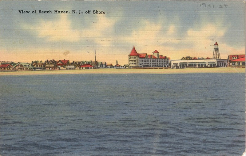 View Of Beach Haven NJ Off Shore 1941 800x509