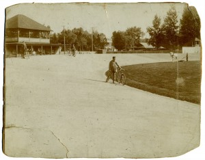 Undated photo, courtesy of Ed Gilmore. Riverton Athletic Assn. Bicycle track - note roof of old passenger PRR station in distance at right; roof of Zena's (now Orange Blossom Café) near center