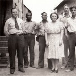 023_1942 employees of JT Evans L-R: 1942 L-R:   1 Jim Kenney 2 unidentified  3 Johnny Armstead  4 Marge ??  5 unidentified  6 Albert Yearly - J.F. Yearly photo