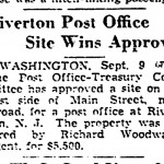 1938-09-09 Trenton Evening Times p2 Riverton Post Office site wins approval