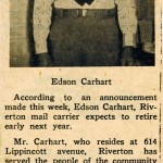Edson Carhardt, mail carrier retires, undated clipping from Mary Flanagan