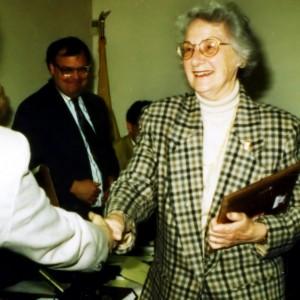 Borough Council names Mrs. Betty B. Hahle official Town Historian as Mayor Bruce Gunn looks on, 1985