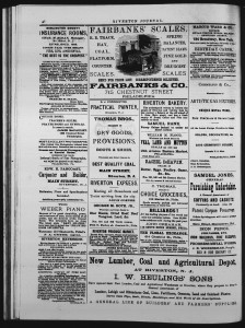 Business Directory from Riverton Journal, July 15, 1882