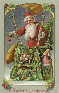 Santa in a hot-air balloon
