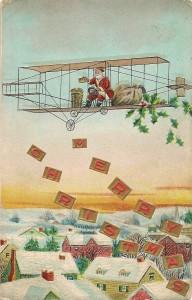 Santa in a bi-plane