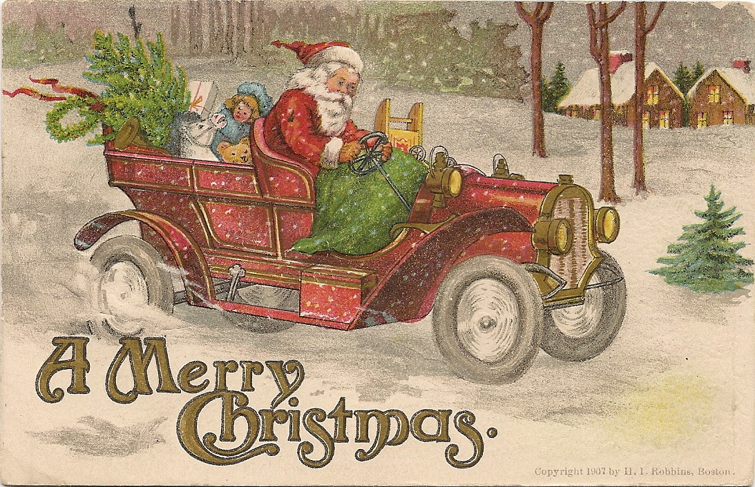 a merry christmas vintage postcard by hi robbins boston 1907
