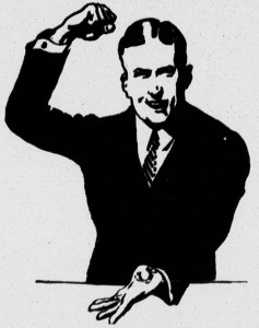 emphatic man, line art from 1925 New Era