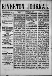 Front page of the Riverton Journal, 11-24-1880