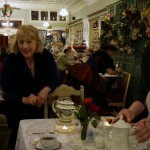 Phyllis and Em kept the hot pots of tea coming as Queen Victoria engaged each table in conversation.