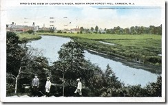 Bird's eye view of Cooper's River, north from Forest Hill, Camden, NJ