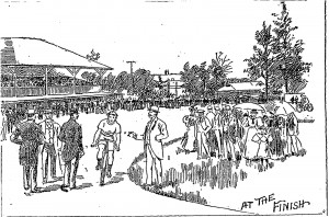 Riverton Bicycle track sketch, NY Times bicyclers June 9, 1895