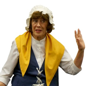 Indentured servant Dorothy Stanaitis shocked this audience with scandalous tales of colonial society she overheard while serving tea.
