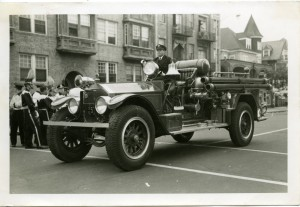Who is driving this 1926 RFCo pumper in 1956?