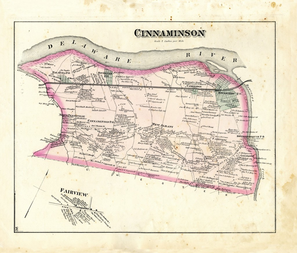 Cinnaminson 1876 map 24002047 Historical Society of Riverton NJ
