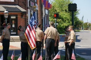 Members of VFW Post 3020 make preparations for the ceremony.