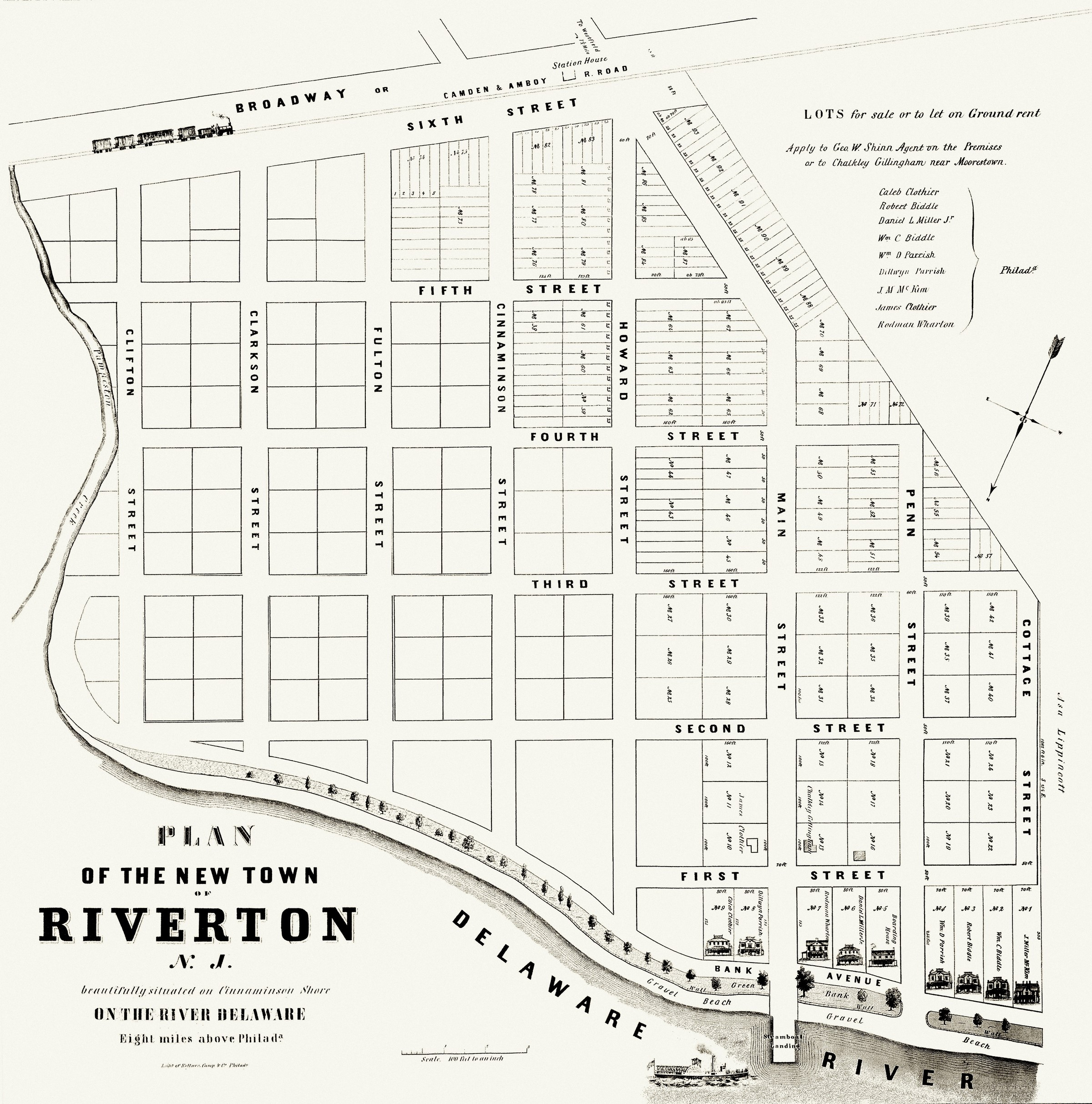 Plan of the new town of riverton historical society of for The riverton