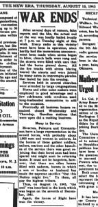 clipping New Era, Aug 16, 1945