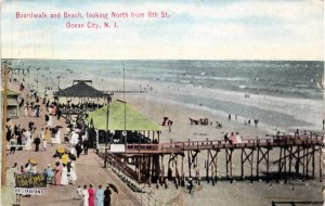 Boardwalk and Beach, looking North from 8th St., Ocean City, NJ