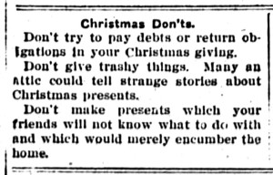 Christmas Don'ts, New Era, Dec. 13, 1912, p3.