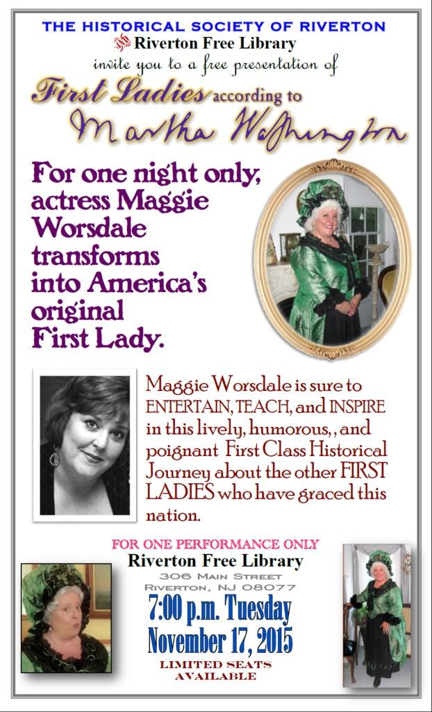 Maggie Worsdale - Martha Washington publicity flyer