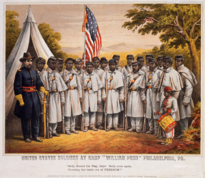 """P.S. Duval & Son, United States Soldiers at Camp """"William Penn"""" Philadelphia, PA:""""Rally Round the Flag, Boys! Rally Once Again, Shouting the Battle Cry of Freedom"""" (Philadelphia: Published by the Supervisory Committee for Recruiting Colored Regiments, 1210 Chestnut Street), 1863. Chromolithograph with hand-coloring."""