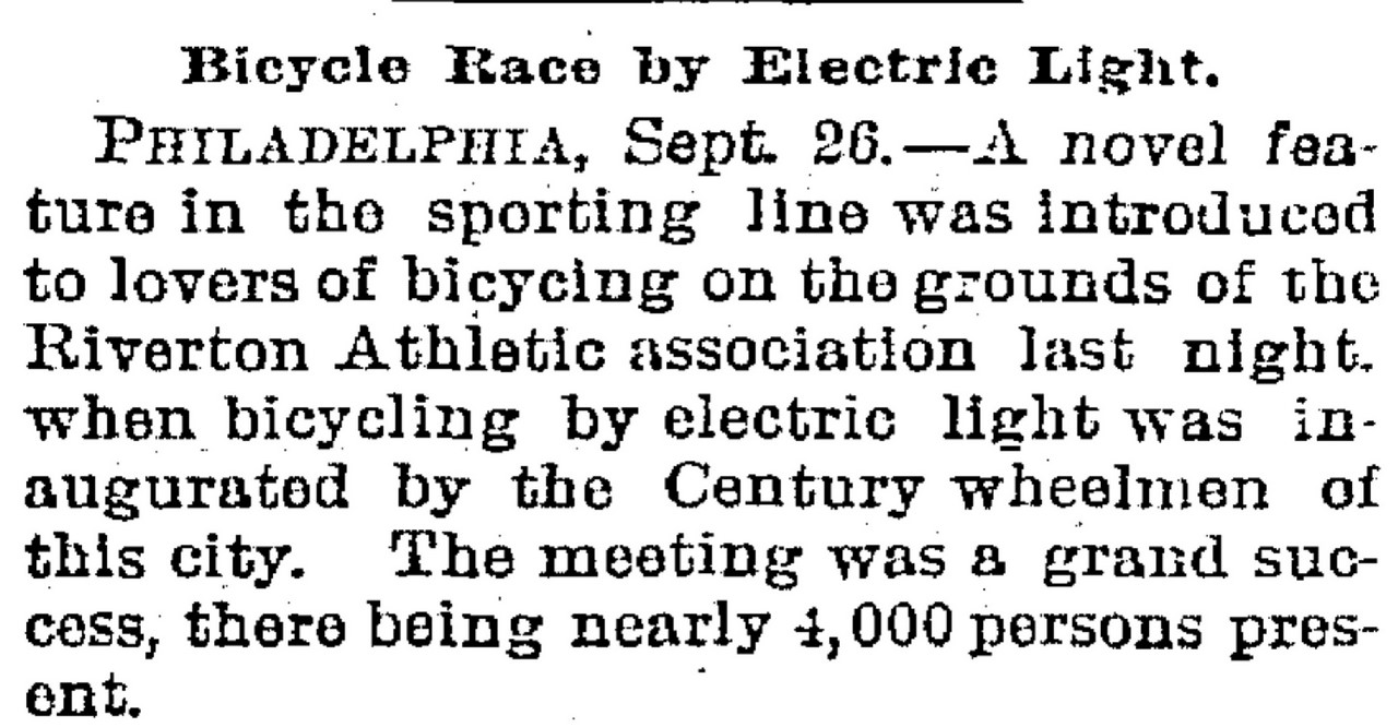 historical society of riverton nj bicycle race by electric light 26 1894 trenton evening times new jersey
