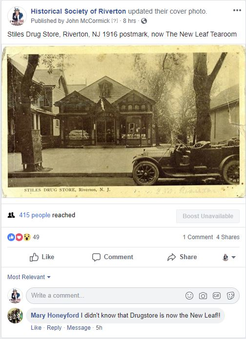 Blankenbush Drug Store – Historical Society of Riverton, NJ